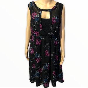 Torrid Black & Roses Sheer & Lace Dress Size 1